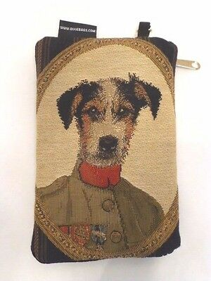 """Jack Russell Terrier Tapestry Double-Zip 7 3/4""""x 5"""" Wallet / Make-Up Case, USA"""