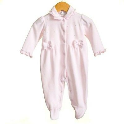 Baby Girl Pink Velour All In One Babygrow Traditional Spanish Zip Zap Bow