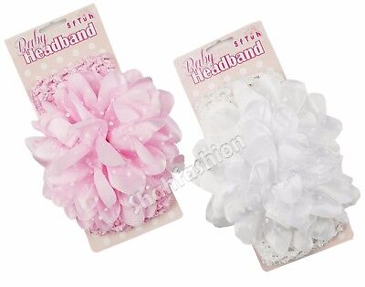 Baby Girls Crochet Headbands With Large Spotty Flower Hair Bands  HB80