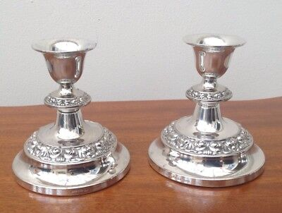 Superb Pair Of Vintage Silver Plated Candlesticks, Maker Lanthe England