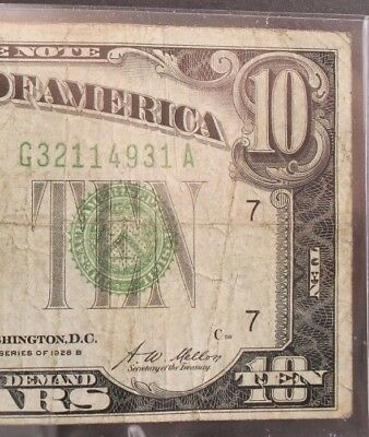 UPICK 1928 B $10 Federal Reserve Note <G CHICAGO> F-2002G GREEN SEAL PLATE C