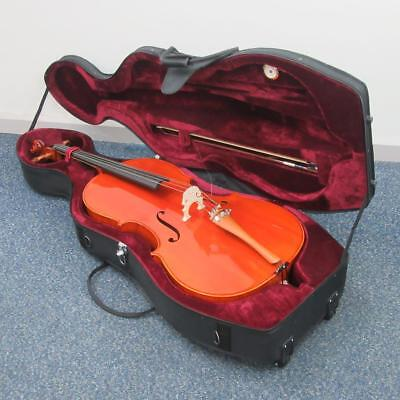 Student 4/4 Size Cello with Case and Bow, Spruce/Basswood Body, Gear4Music
