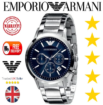 Brand New Genuine Mens Emporio Armani Ar2448 Silver & Blue Watch With Box