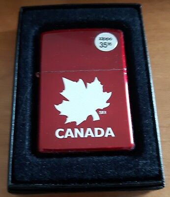 Canada Maple Leaf  Canadian Souvenir windproof lighter Glossy Red Finish