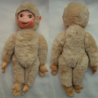 Vintage, Collectable, Schuco? Mohair? Stuffed Toy Monkey Working Squeaker