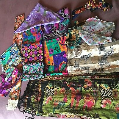 Lot of 14 Vintage Scarves all SIZES and colors