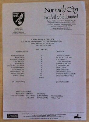 Norwich City Youth v Chelsea Youth - SJ Floodlit Cup 1st Rd - 26th August 1996