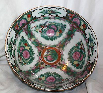 Vintage Large Heavy Hand Painted Chinese Oriental Bowl Home Decor!