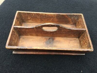 Vintage and Original solid pine caddy tray