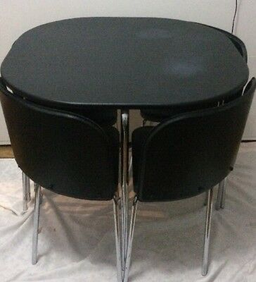 IKEA Fusion Dining Table and 4 Chairs. Black. Space Saving
