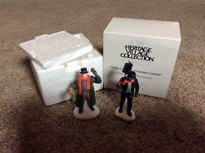 "Department 56 Heritage Village Collection, ""Town Crier & Chimney Sweep"" Set of 2"