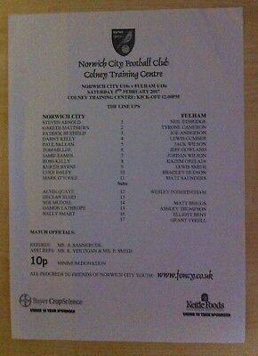 Norwich City Under 18s v Fulham Under 18s - 3rd February 2007