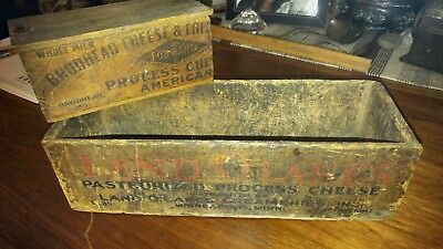 2 Antique Primitive Wood Land O Lakes 5 Pound and Broadhead Cheese Box!