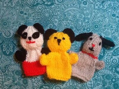 Hand Knitted Sooty, Sweep And Soo Fingerpuppets.