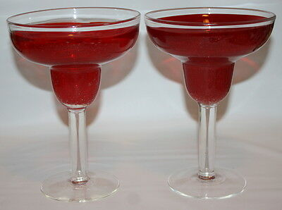 Set of Two Glass hand Blown Red Margarita Glasses