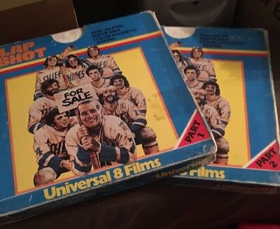 "Super 8 Cine Film""Slap Shot"" Parts 1+2 Col/sound Paul Newman 2x400ft Reels"