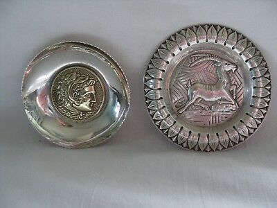 2 Unusual Collectable Silver Dishes,medallion In 1,gazelle Design Has Marks.