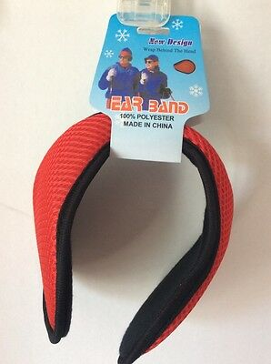 Ear Bands Winter Ear Warmers Fleece UNISEX Behind The Head Black/Red ~ NEW