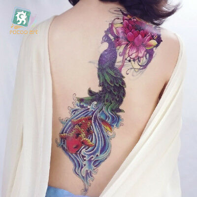 UK Flower Peacoke Carp fish  Full Arm Temporary Tattoo Sticker 3D Leg