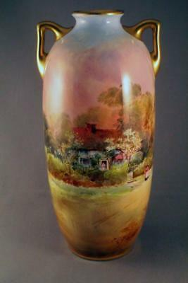 Hand Painted Royal Doulton J.h. Plant Country Scenes Twin Handled Vase - Perfect