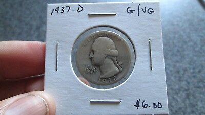 1937'D Washington silver quarter in GOOD to VG condition.NICE DATE, FREE SHIP