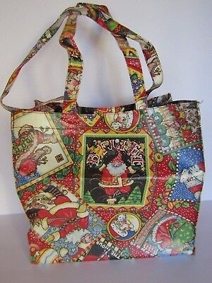 """New Mary Engelbreit """"Believe"""" Christmas Shopping Bag/ Coated Cotton/ Durable"""
