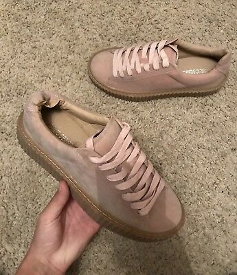 Size 4 Public Desire Pink Faux Suede Nude Creepers Platform Trainers Shoes Flats