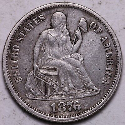 XF+ 1876 Seated Liberty Dime - OBV Cleaned K4ANT