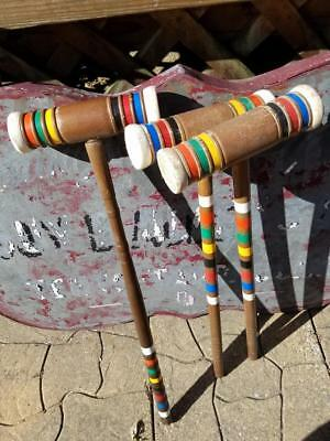 """Vintage Replacement 27"""" Or 25"""" Croquet Mallet Choice Of One Forster Dark Wood"""