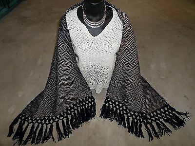 """Mexican Woven Fringed Shawl Rebozo Table Runner Navy Blue Acrylic Cotton 24x78"""""""