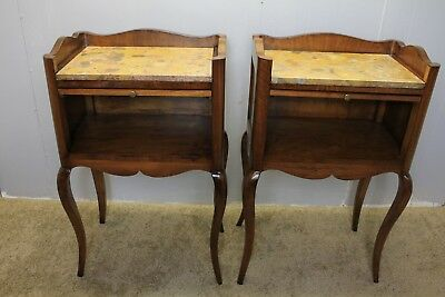 1940 Italian Walnut Inlaid Marble Top Bedside Stands With Pull Out Trays