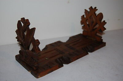 Antique Black Forest Carved Wooden Intricate Leaf Sliding Book Stand Bookends