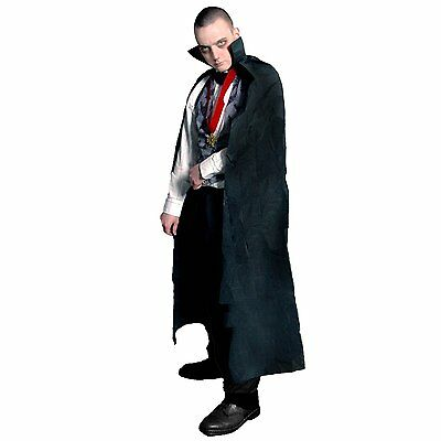 Mens Adult Halloween Long Black Cape One Size Dracula Vampire 54""