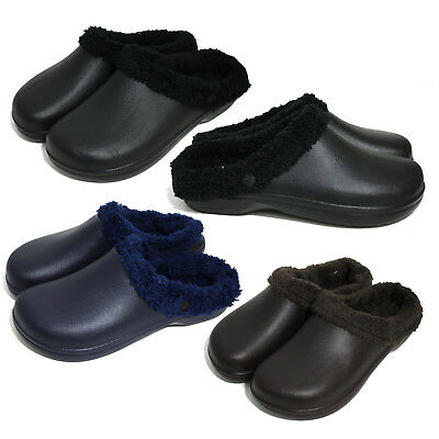Mens Slip on Winter Fur Lined Warm Home Indoor Outdoor Clog Slippers Shoes