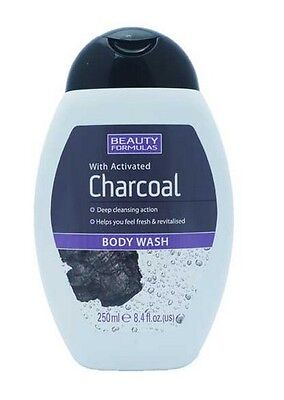 Beauty Formulas With Activated Charcoal Body Wash 250Ml Deep Cleansing Action