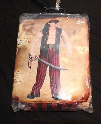 Muscle Pirate Halloween Childs Costume Sz Lrg With Shirt Pants Vest Hat Belt New
