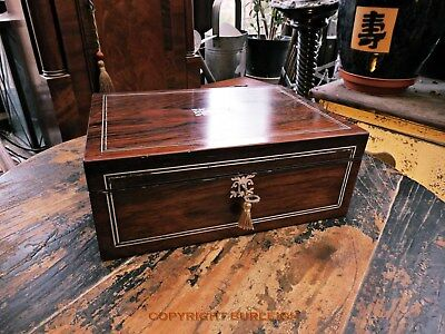 A Late Victorian Jewellery Or Work Box With Mother Of Pearl Inlay