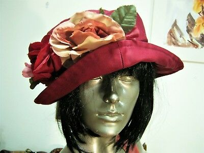 So Adorable! 80S Cotton Blend Soft Plum Cloche Hat With Roses.