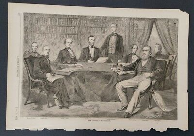 Vintage Print 1861  Abraham Lincoln's First Cabinet  Harper's Weekly