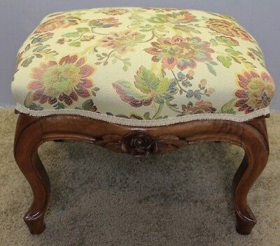 Mid-19th Century French Louis XV Carved solid Walnut Footstool new upholstery