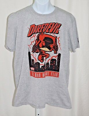 """Daredevil The Man Without Fear Marvel Funko Pop Mens Gray L 46"""" Chest T Shirt"""