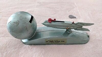 Duro Strato Rocket Space Ship Mechanical Bank Blue Farmers National Bank Salina