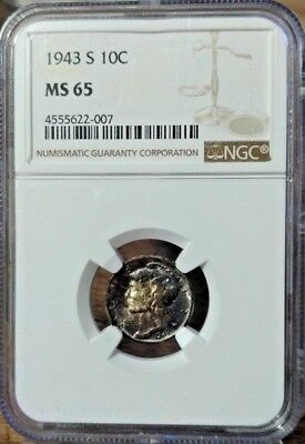 1943 S NGC MS65 Mercury Dime