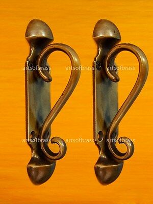 "4.56"" inches 2 PCS Vintage BIG KNOB VICTORIAN Solid Brass Handle PULL Door KNOBS"