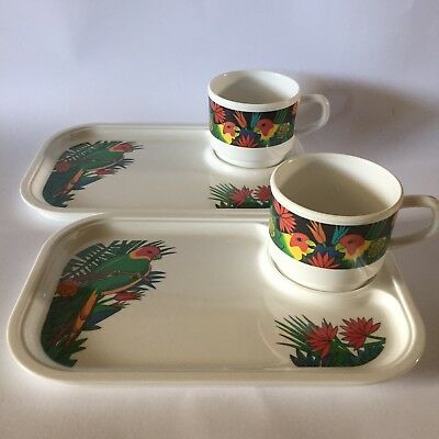 Retro 80s 90s Melamine Lorikeet Cup and Tray Set Vintage Collectable