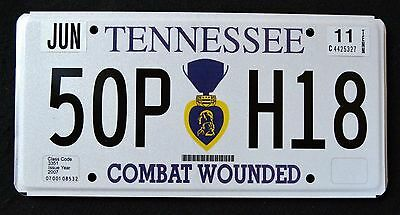 "TENNESSEE "" PURPLE HEART - COMBAT WOUNDED "" TN Military SPECIALTY License Plate"