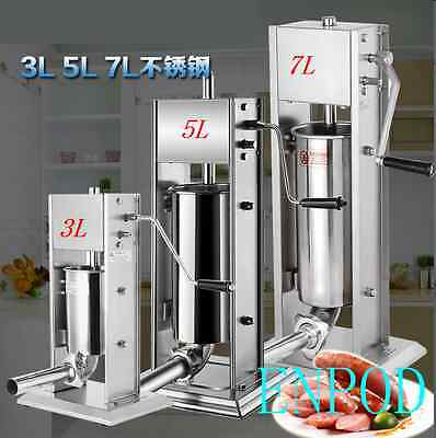 3L Vertical Sausage Stuffer Stainless Steel Commercial Sausage Filler + 4xTubes