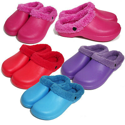 Womens Slip on Winter Fur Lined Warm House Indoor Outdoor Clog Slippers Shoes