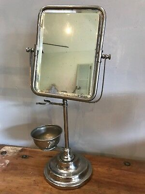 Vintage Barber's Chrome Shaving Mirror on Stand with Dish