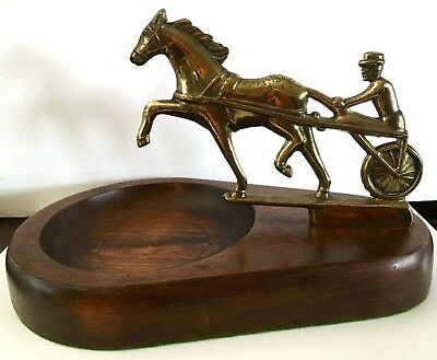 Vintage Brass Harness Sulky Horse Racing Wooden Bowl